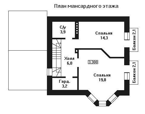 Дом 11,8×9,1 м. с двускатной крышей