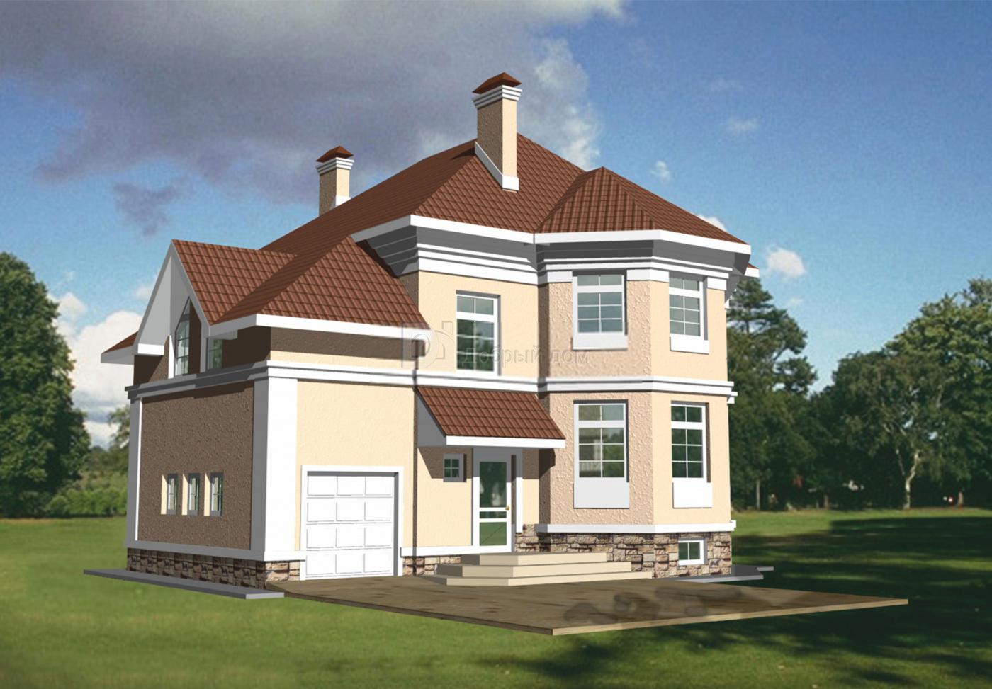 Проект дома 12,6×11,9 м. с четырехскатной крышей