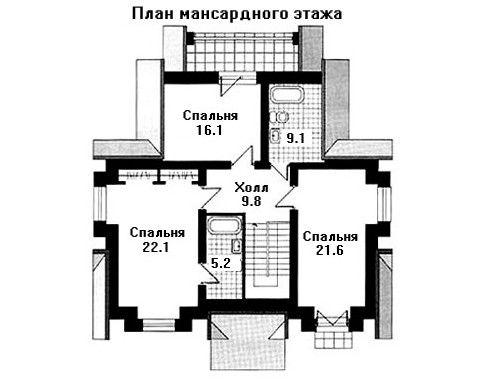 Дом 13×10,8 м. с двускатной крышей