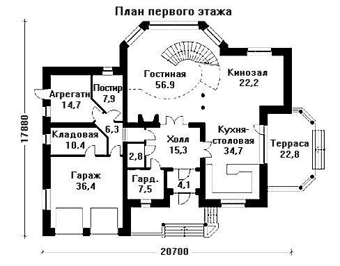 Проект дома 20,7×17,88 м. с мансардной крышей