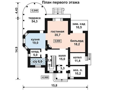 Дом 15,8×14,9 м. с мансардной крышей