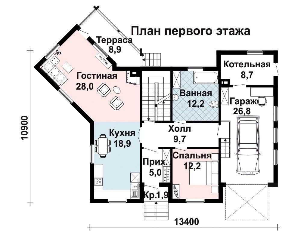Проект дома 17.6 м х 14.2 м с двускатной крышей
