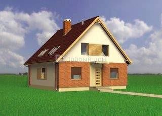 Дом 10,6×10,6 м. с двускатной крышей