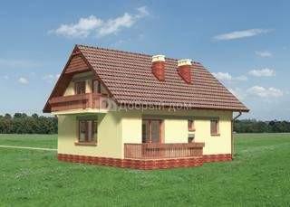 Дом 9,8×9,8 м. с двускатной крышей