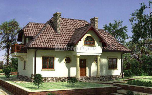 Дом 12,5×10,8 м. с мансардной крышей