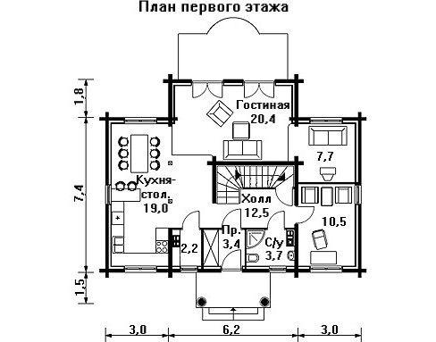 Проект дома 12.2 м х 10.7 м с мансардной крышей