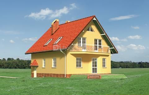 Дом 12,4×9 м. с двускатной крышей