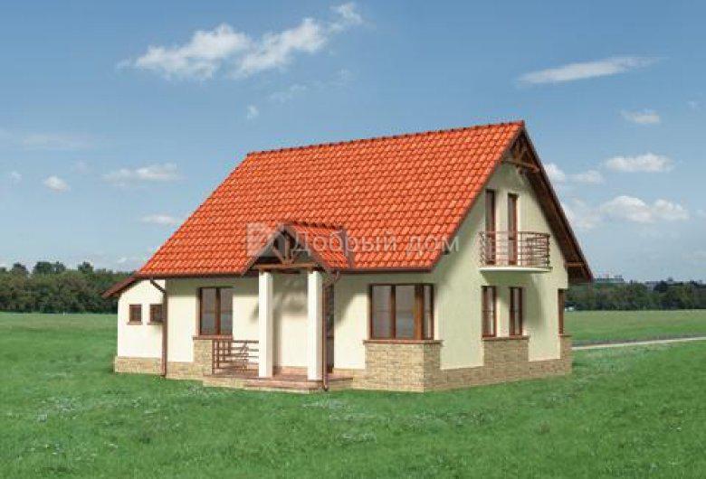 Дом 12,5×9 м. с двускатной крышей