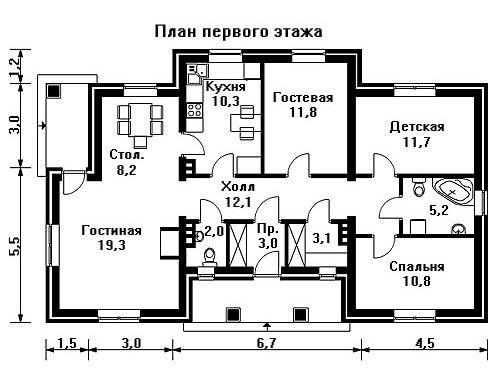 Дом 15,7×9,7 м. с четырехскатной крышей