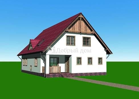 Проект дома 13,7×9,5 м. с двускатной крышей
