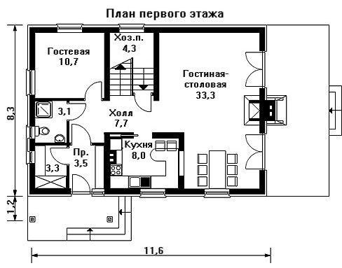 Дом 11,6×8,3 м. с двускатной крышей