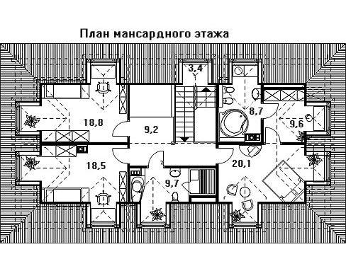 Проект дома 17 м х 9.2 м с мансардной крышей