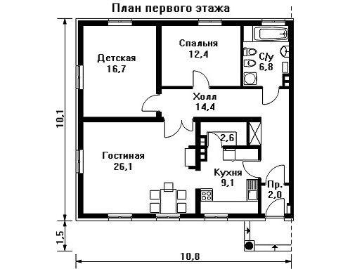 Проект дома 10,8×10,1 м. с четырехскатной крышей