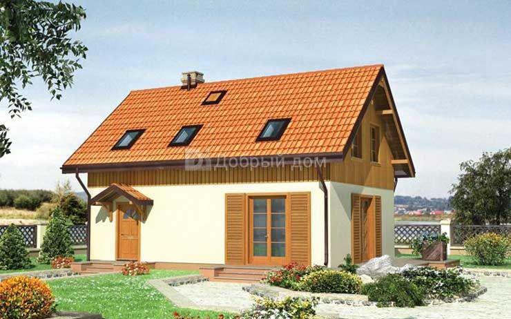 Дом 10,4×7,4 м. с двускатной крышей