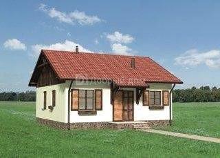 Дом 9,1×8,8 м. с двускатной крышей
