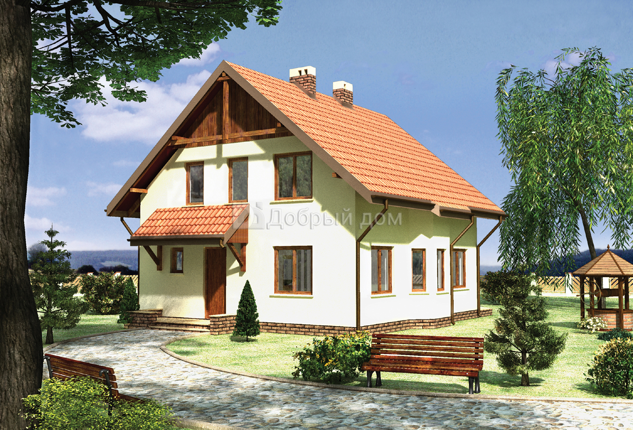 Дом 10×9,4 м. с двускатной крышей