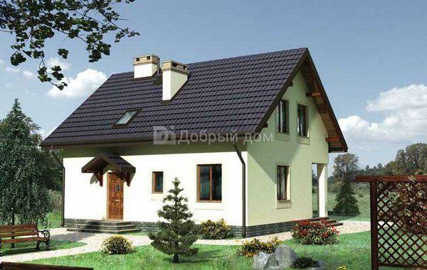 Дом 10,1×9,5 м. с мансардной крышей
