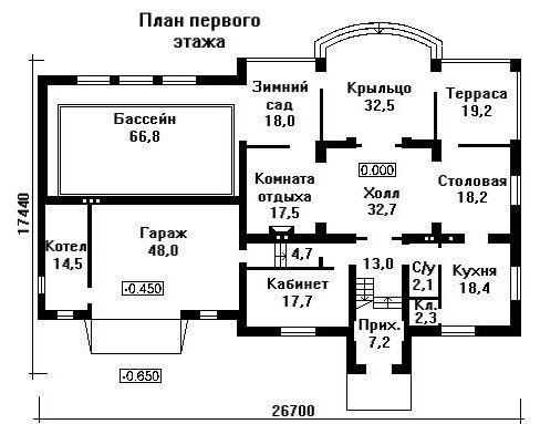 Дом 26×12,3 м. с мансардной крышей