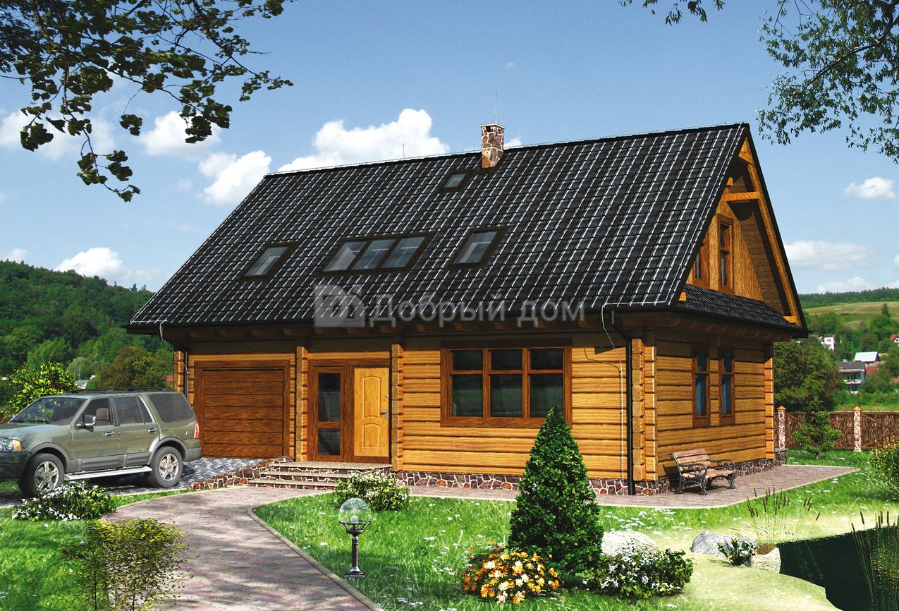 Проект дома 11.7 м х 8.7 м с двускатной крышей