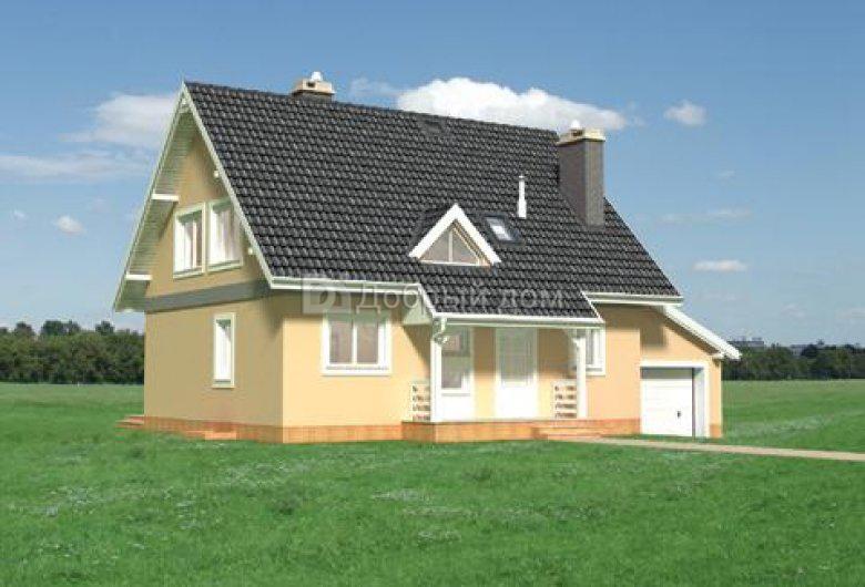 Проект дома 14,1×9 м. с двускатной крышей