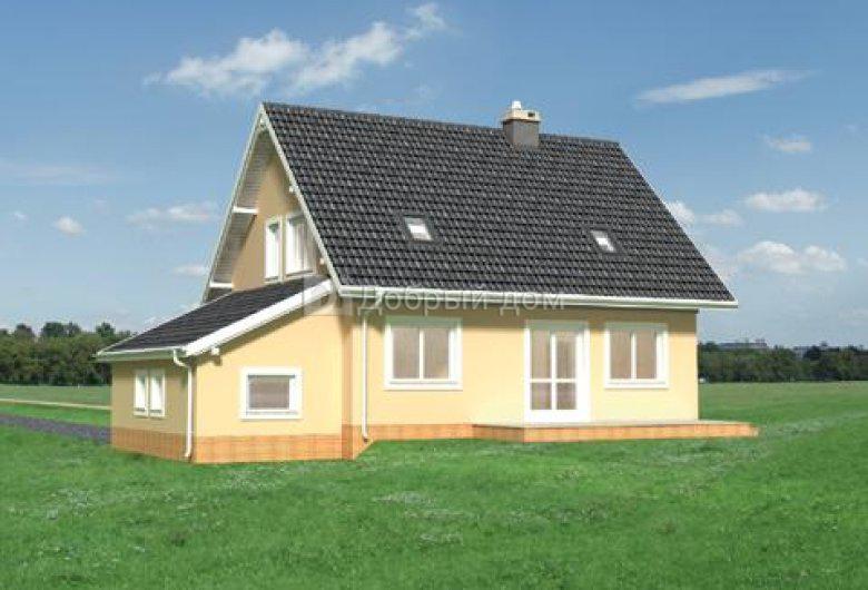 Дом 14,1×9 м. с двускатной крышей