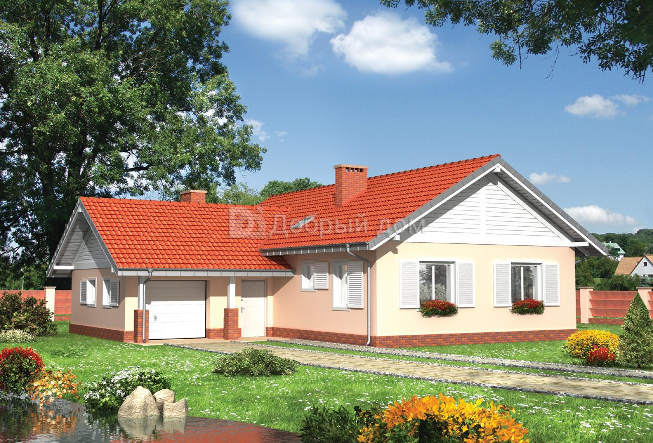 Дом 14,6×14,4 м. с двускатной крышей