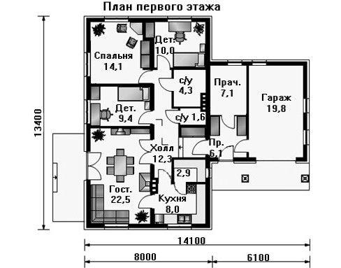 Проект дома 14,1×13,4 м. с двускатной крышей