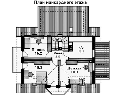 Дом 12,8×12,8 м. с мансардной крышей