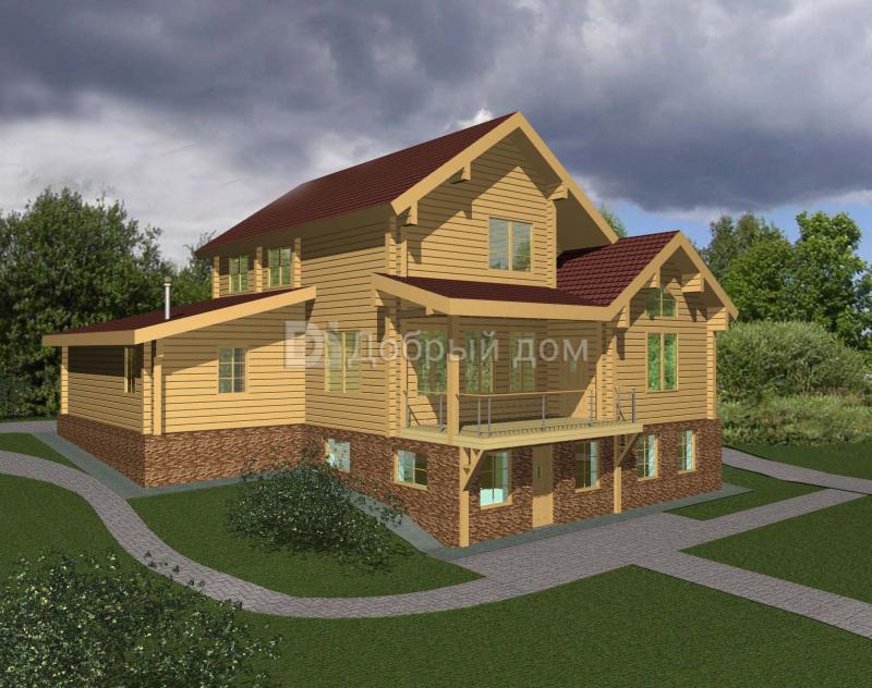 Проект дома 15 м х 14.25 м с двускатной крышей