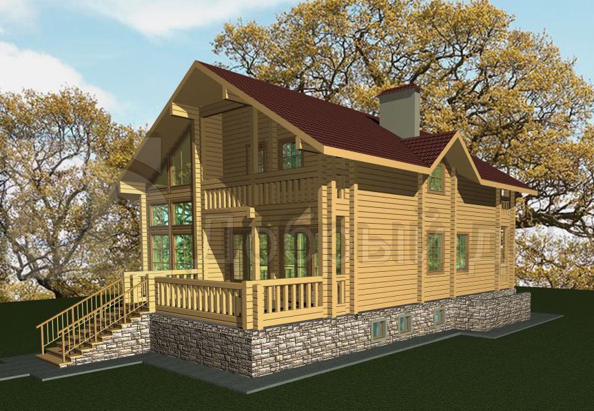 Проект дома 16.29 м х 11.07 м с двускатной крышей