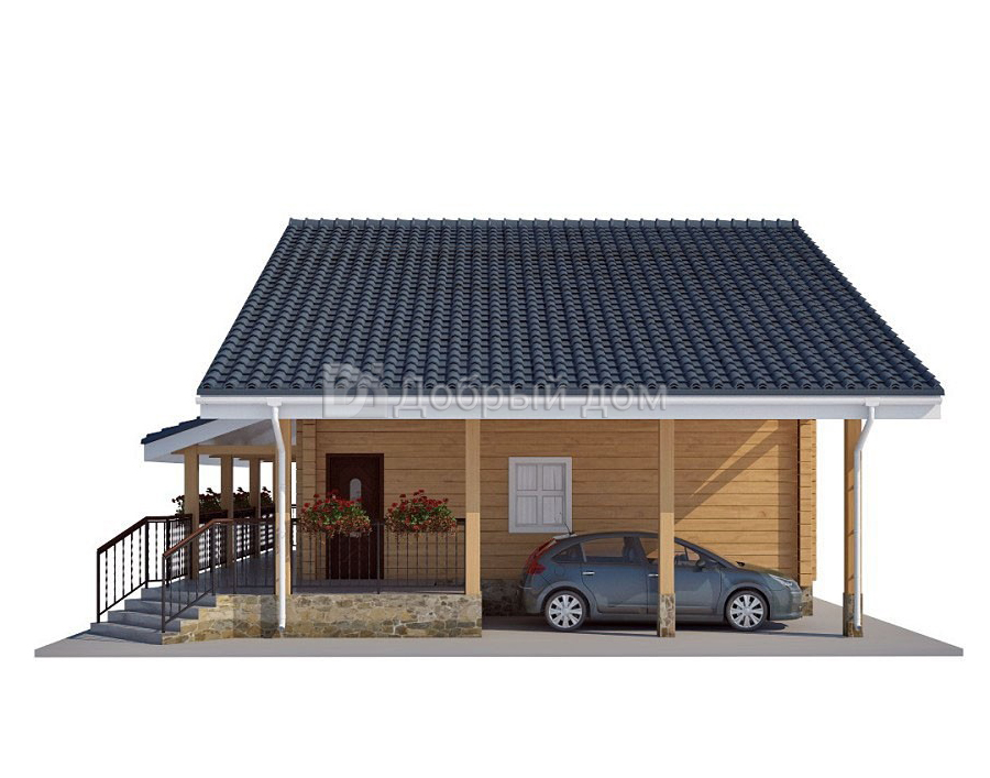 Проект дома 9 м х 8 м с двускатной крышей