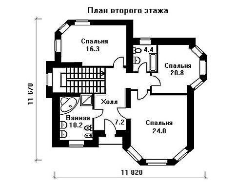 Дом 14,5×11,7 м. с четырехскатной крышей