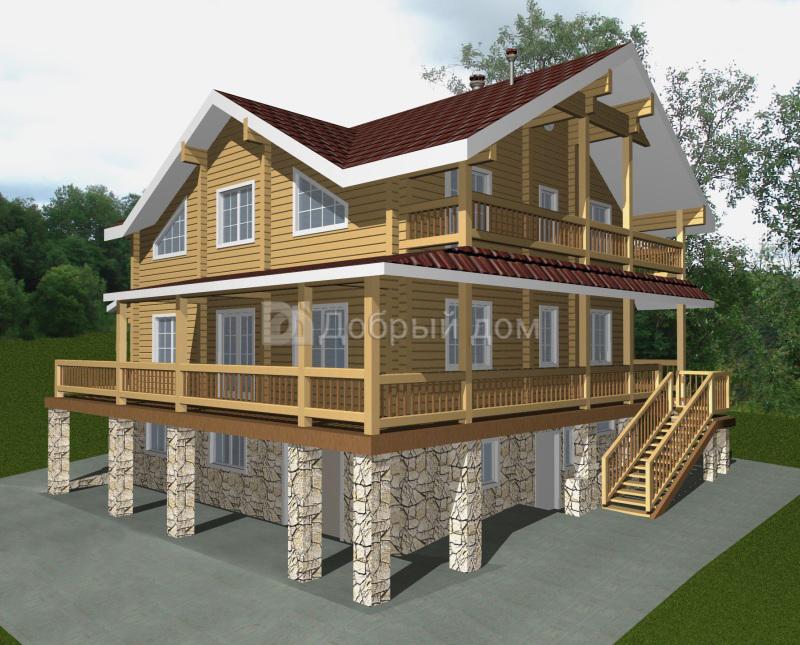 Проект дома 16.4 м х 14.1 м с двускатной крышей