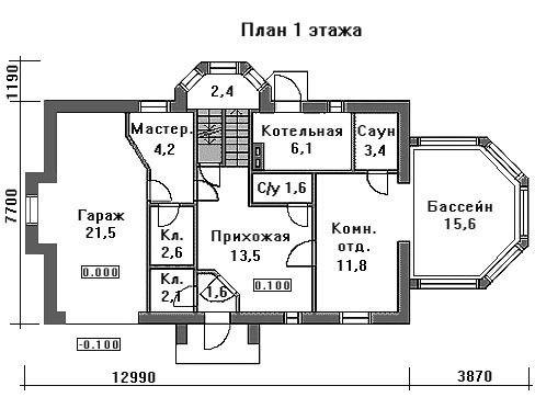 Проект дома 13×8,9 м. с мансардной крышей