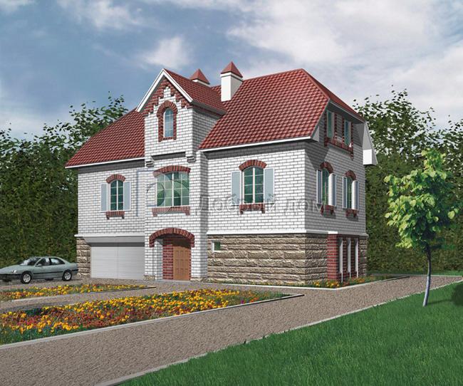Дом 15,82×10,34 м. с мансардной крышей