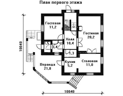 Проект дома 10,04×10,04 м. с мансардной крышей