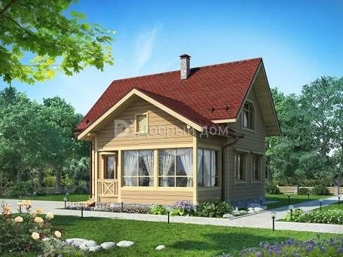 Проект дома 10.4 м х 9 м с двускатной крышей