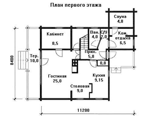 Проект дома 11.2 м х 8.4 м с двускатной крышей
