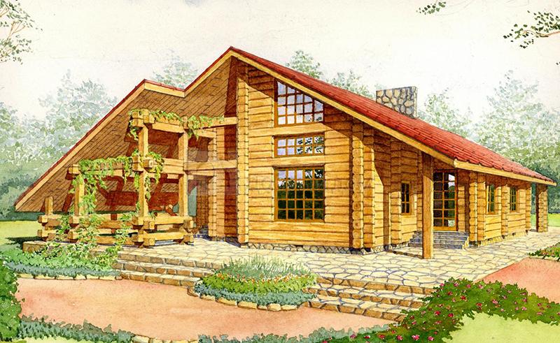 Проект дома 20.7 м х 14.5 м с двускатной крышей