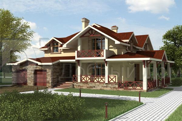 Дом 19,8×16,8 м. с двускатной крышей
