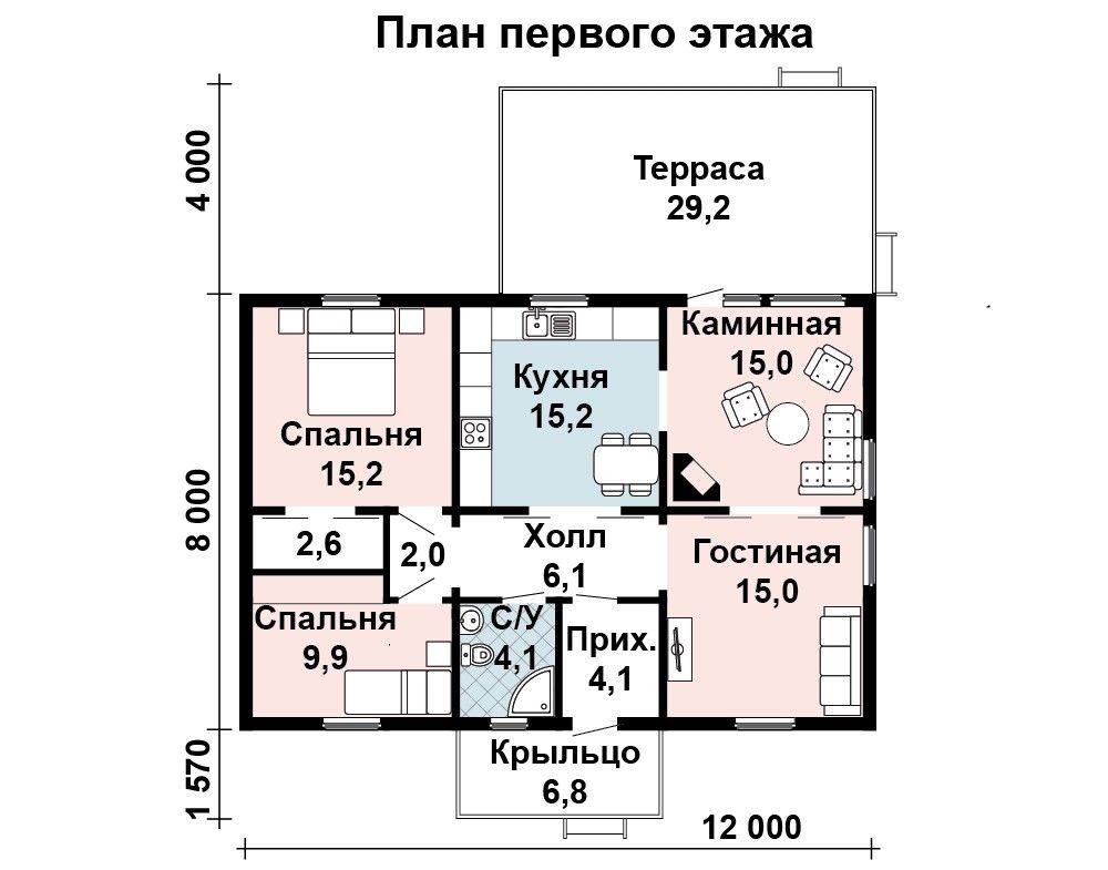 Дом 12×8 м. с двускатной крышей