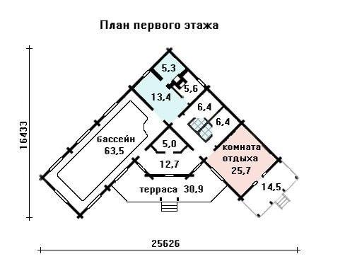 Банный комплекс 26.7 м × 16.5 м