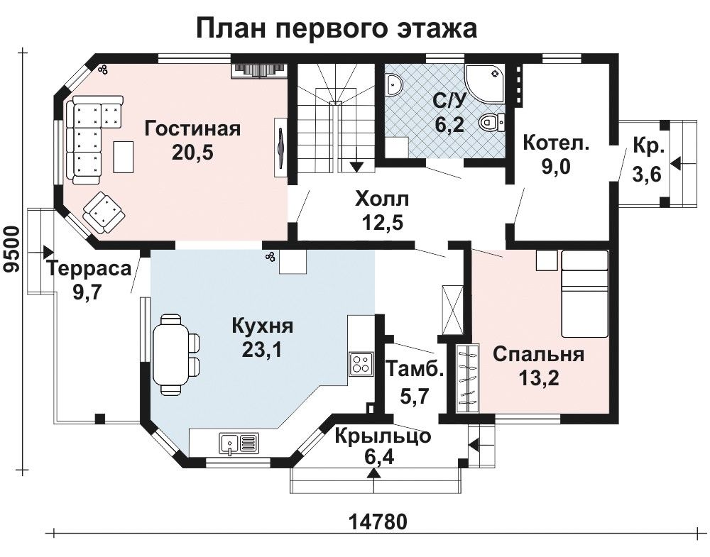 Проект дома 13 м х 9.5 м с двускатной крышей