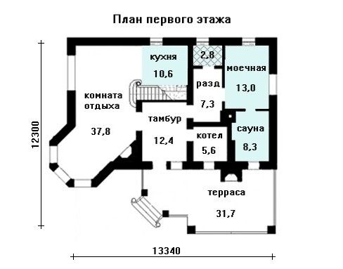 Проект дома 13.4 м х 13.3 м с четырехскатной крышей