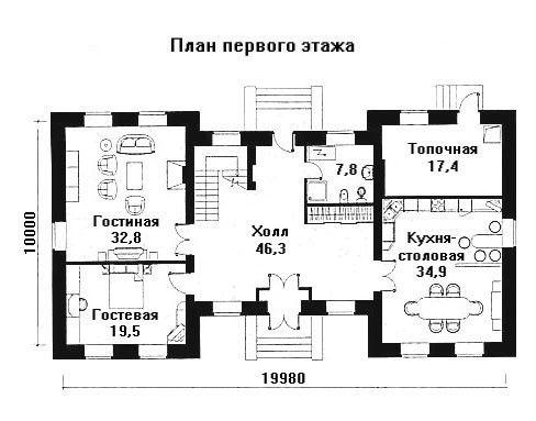 Дом 20×10 м. с четырехскатной крышей