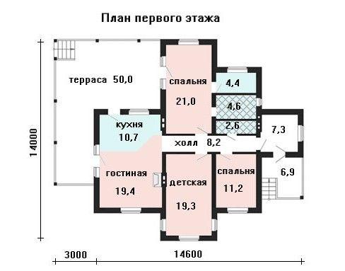 Дом 14,6×14 м. с двускатной крышей
