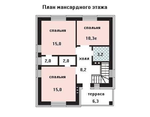 Дом 9,5×8 м. с мансардной крышей