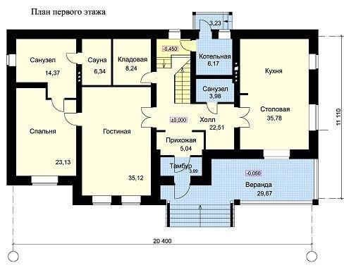 Дом 20,4×11,1 м. с четырехскатной крышей