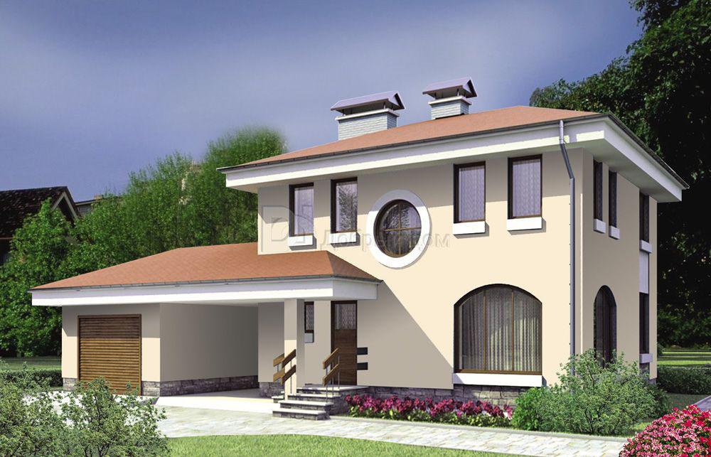 Дом 9,6×8,6 м. с четырехскатной крышей