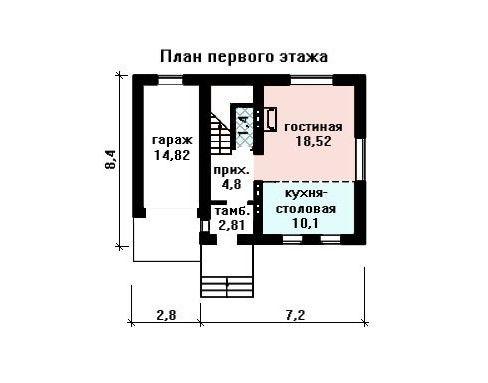 Проект дома 10×8,4 м. с двускатной крышей